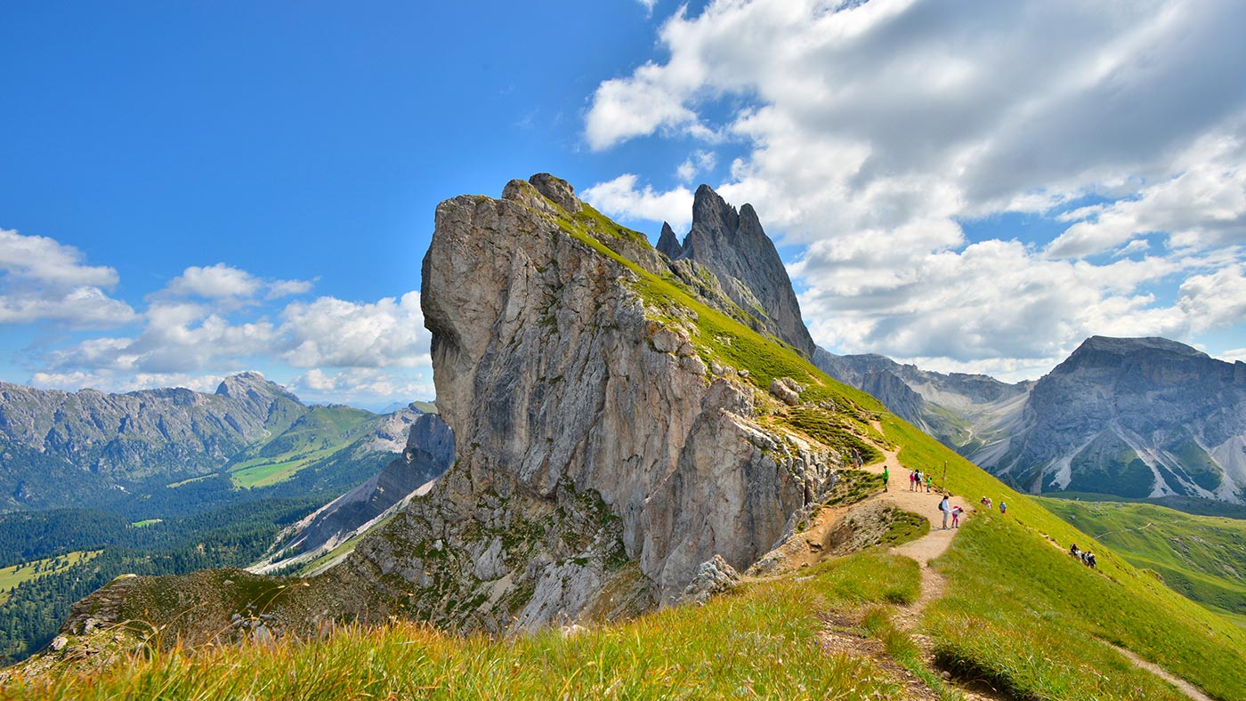 View of the Seceda in Val Gardena